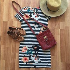 Adorable floral and striped body-con mini dress